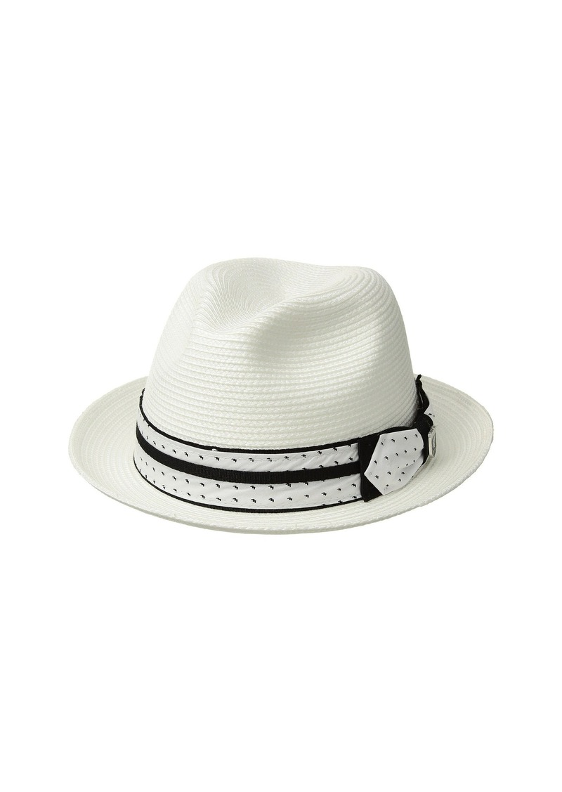 Stacy Adams Poly Braid Pinch Front Fedora with Fancy Bow