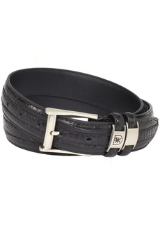 Stacy Adams Men's 35mm Genuine Snakeskin With Leather Embossed Crocodile And Lizard Belt