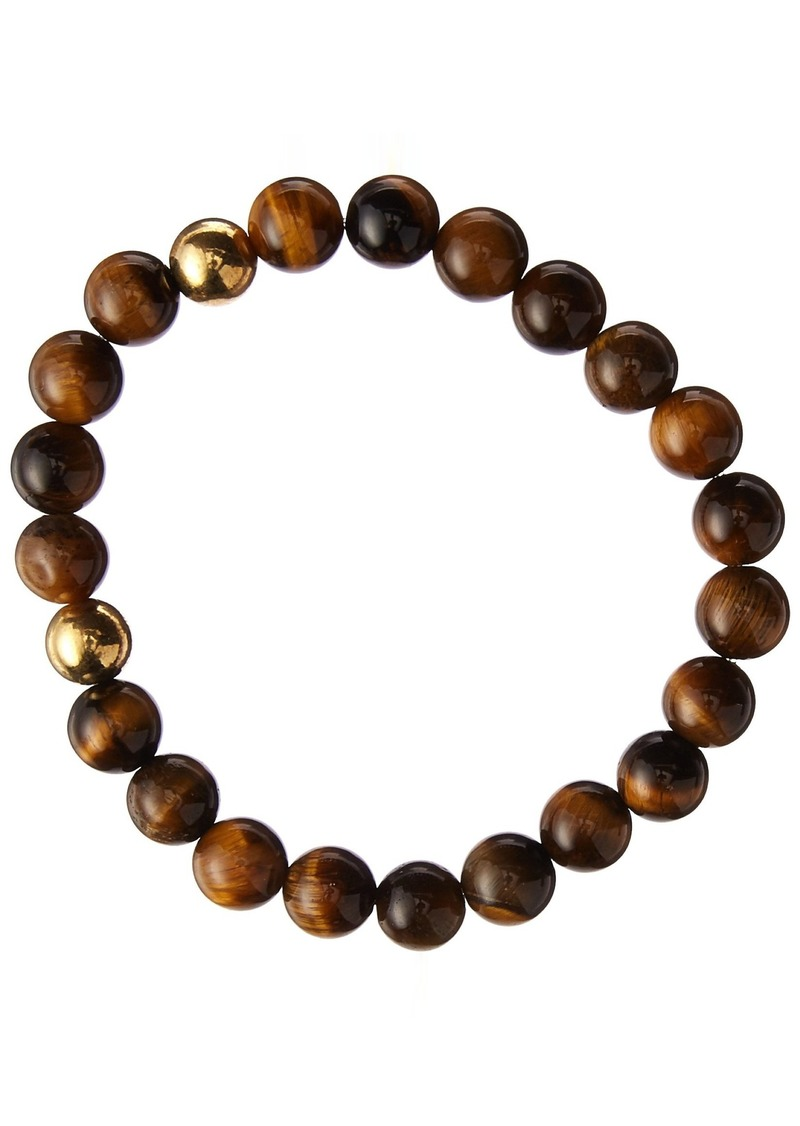 Stacy Adams Men's 49120 8mm Natural Tiger Eye w/Gold Bracelet Accessory brown/gold