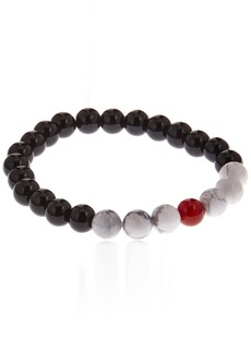 Stacy Adams Men's 49153 8mm Onyx w/Red and Natural Howlite Bracelet Accessory black/white/red N/A
