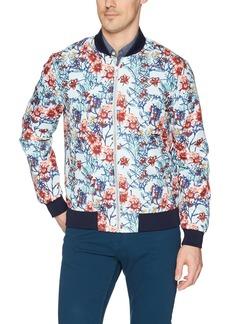 Stacy Adams Men's Light Blue Floral Baseball Jacket