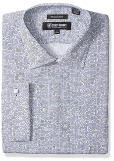 """Stacy Adams Men's Big and Tall B and T Floral Sketch on Mini Stripe Classic Fit Dress Shirt  22"""" Neck 36-37 Sleeve"""