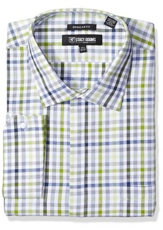 """Stacy Adams Men's Big and Tall Grid Check Classic Fit Dress Shirt  17.5"""" Neck 38-39"""" Sleeve"""