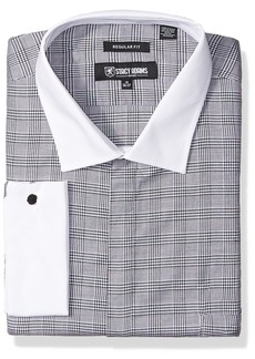 """Stacy Adams Men's Big and Tall Large Glen Check Classic Fit Dress Shirt  17.5"""" Neck 38-39"""" Sleeve"""