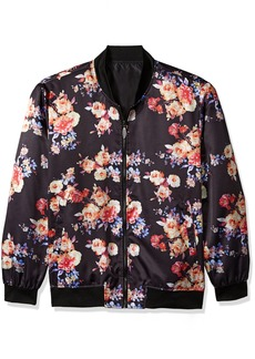 STACY ADAMS Men's Big and Tall Midnight Bloom Baseball Jacket Floral