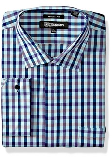 """Stacy Adams Men's Big and Tall Multi Color Gingham Classic Fit Dress Shirt  17.5"""" Neck 38-39 Sleeve"""