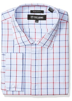 Stacy Adams Men's Big and Tall Windowpane Classic Fit Dress Shirt