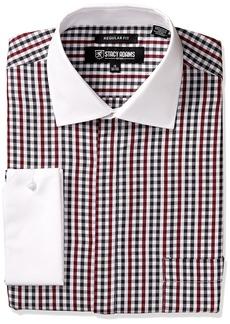 Stacy Adams Men's Broken Check w/Vertical Stripe Classic Fit Dress Shirt