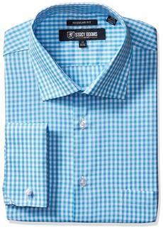 "Stacy Adams Men's Gingham Check Dress Shirt  17.5"" Neck 38-39"" Sleeve"
