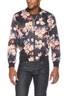 STACY ADAMS Men's Light Blue Floral Baseball Jacket Midnight
