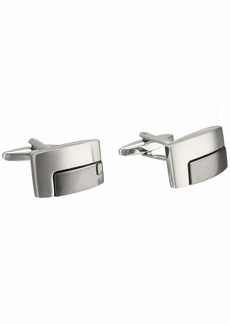 STACY ADAMS Men's Rectangle Cuff Link with Gunmetal Inlay Silver/Gunmetal