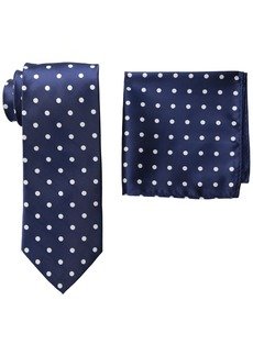 Stacy Adams Men's Tall Plus Size Satin Dot Tie Set Extra Long  One