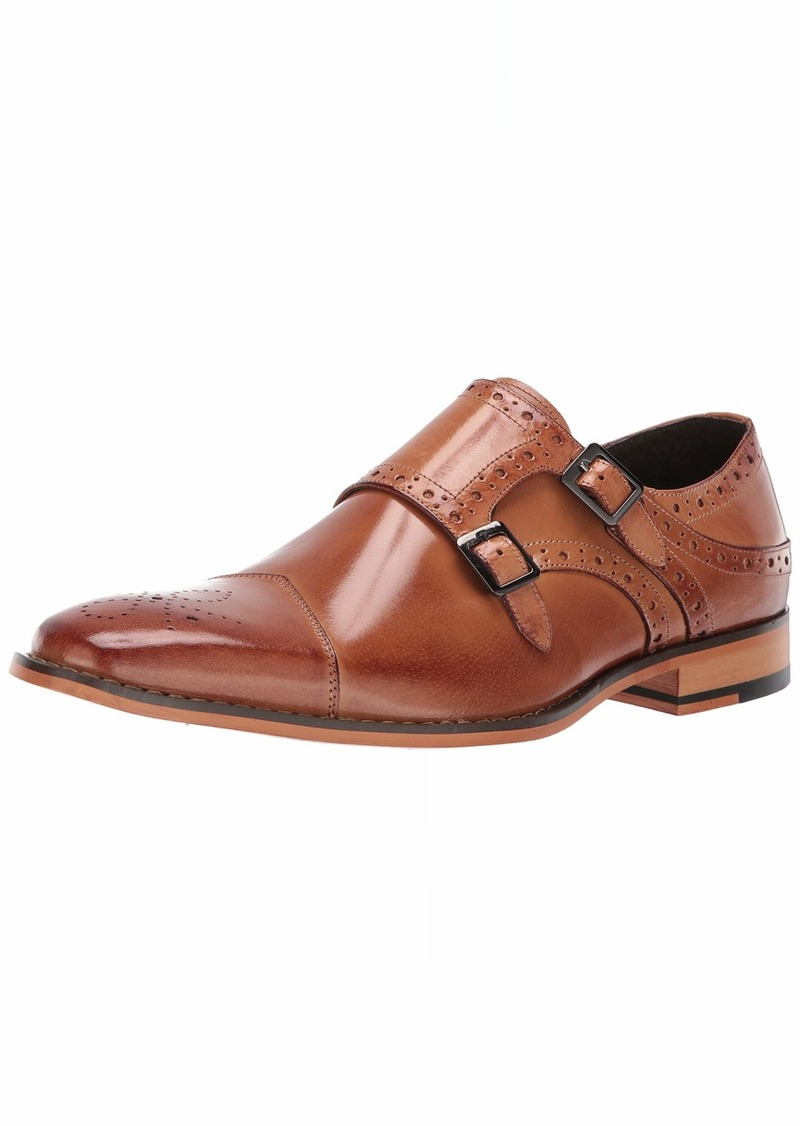 STACY ADAMS Men's Tayton Cap Toe Double Monk Strap Loafer tan  M US