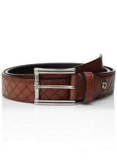 Stacy Adams Men's Webster Diamond Embossed Belt cognac