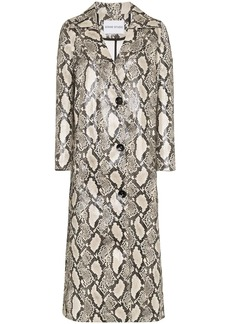 STAND STUDIO Mollie snake-print faux leather coat