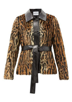 Stand Studio Cora belted leopard-print faux-fur jacket