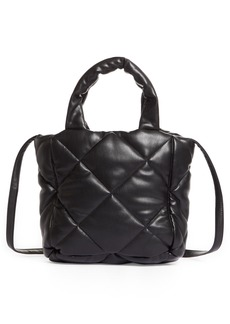 Stand Studio Small Rosanne Quilted Faux Leather Top Handle Bag - Black
