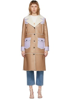 Stand Studio Taupe & Purple Faux-Leather Adele Coat