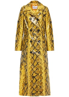 Stand Studio Woman Sasha Snake-effect Faux Patent-leather Trench Coat Marigold
