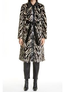 Women's Stand Studio Aurora Zebra Print Faux Fur Coat