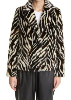 Women's Stand Studio Melody Zebra Print Faux Fur Blazer