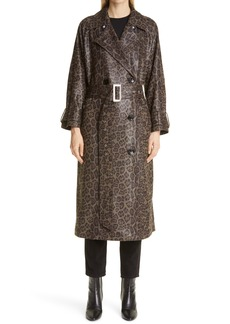 Women's Stand Studio Shelby Animal Print Faux Leather Trench Coat