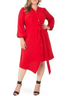 Plus Size Women's Standards & Practices Asymmetrical Long Sleeve Shirtdress