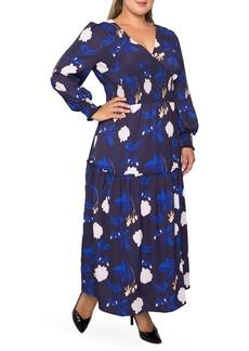 Plus Size Women's Standards & Practices Floral Smock Waist Long Sleeve Georgette Maxi Dress