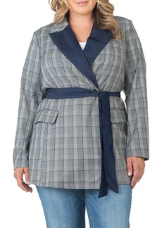 Plus Size Women's Standards & Practices Gina Denim Trim Plaid Blazer