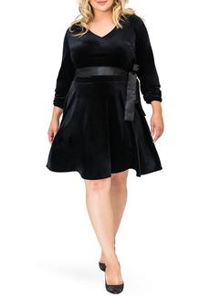Plus Size Women's Standards & Practices Millie V-Neck Stretch Velvet Fit & Flare Dress