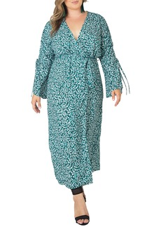 Plus Size Women's Standards & Practices Ruched Long Sleeve Wrap Maxi Dress