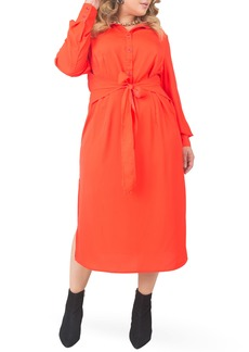 Plus Size Women's Standards & Practices Tie Waist Long Sleeve Midi Dress