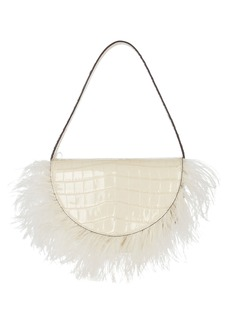 STAUD Amal Feather-Trimmed Leather Bag