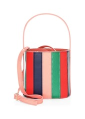 STAUD Bisset Striped Leather Bucket Bag