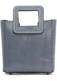 STAUD Blue Croc Mini Shirley Bag