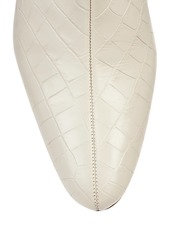 STAUD Brando Croc-Embossed Leather Ankle Boots