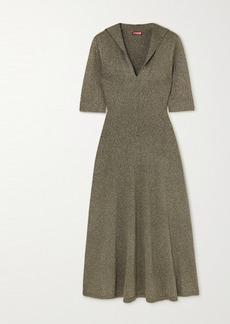 STAUD Breck Metallic Knitted Dress