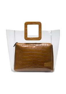 STAUD brown Shirley crocodile embossed leather PVC tote