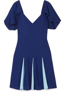 STAUD Chiquita Pleated Two-tone Crepe De Chine Mini Dress