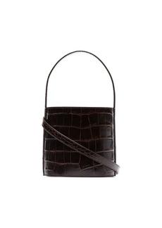 STAUD chocolate brown Bisset croc print leather bucket bag