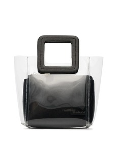 STAUD clear and black shirley mini PVC and leather tote