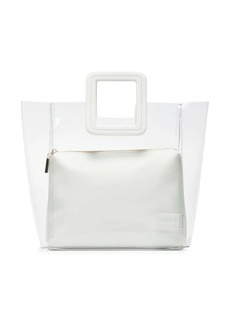 STAUD clear and white Shirley PVC and leather tote