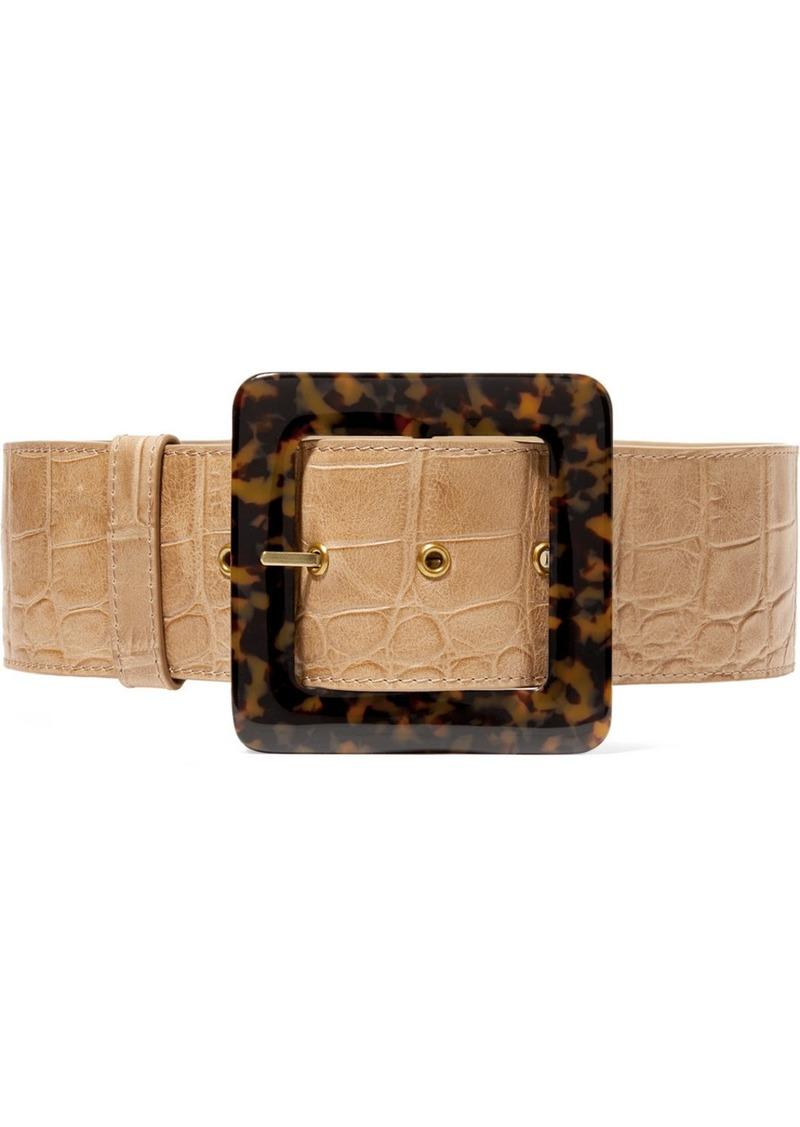 Croc-effect Leather Waist Belt