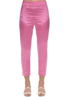 STAUD Cropped Satin Slim Pants