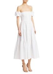 STAUD Elio Puff-Sleeve Prairie Dress