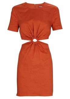 STAUD Epona Cut-Out Linen Mini Dress
