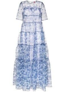 STAUD tiered palm tree-print chiffon maxi dress