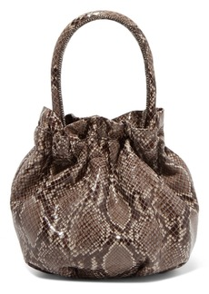 STAUD Grace Snake-effect Glossed-leather Tote