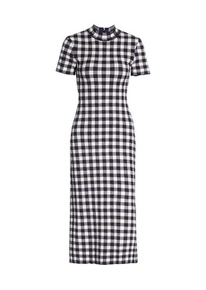 STAUD Heli Gingham Short-Sleeve Dress
