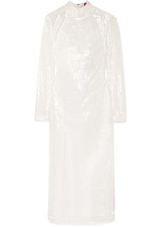 STAUD Liza Sequined Tulle Midi Dress